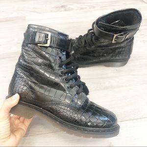 Anthropologie Kurt Geiger Moto Lace Up Combat Boots 36 black